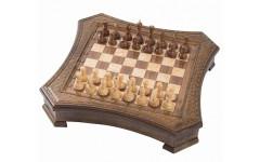 Шахматы резные восьмиугольные в ларце 50, Haleyan